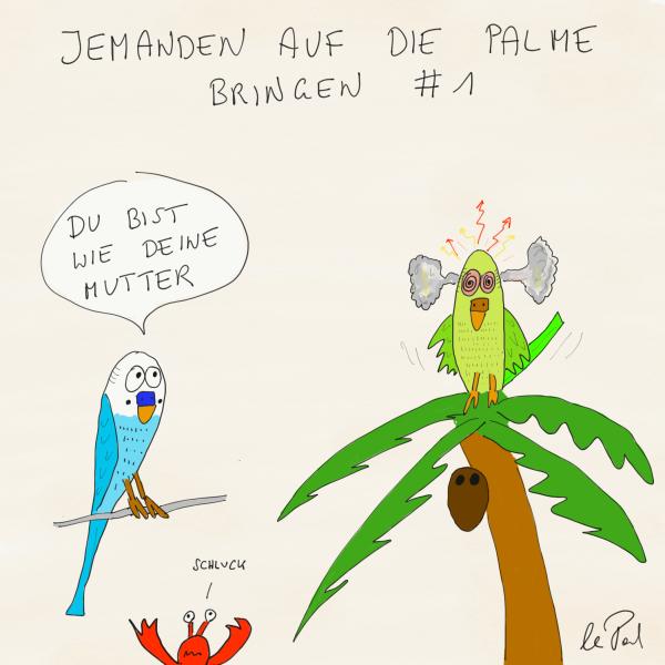 Palmsonntag, jemanden auf die Palme bringen, Cartoon