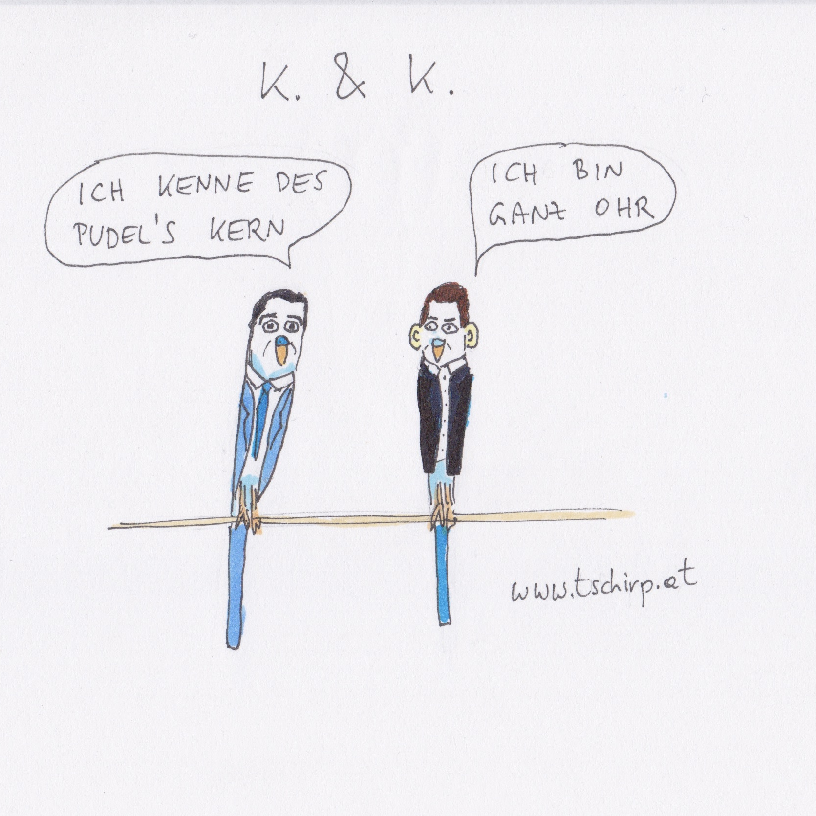 Kurz, Kern, ChristianKern, SebastianKurz, Cartoon, Cartoons, Comic, Comics, Wellensittich