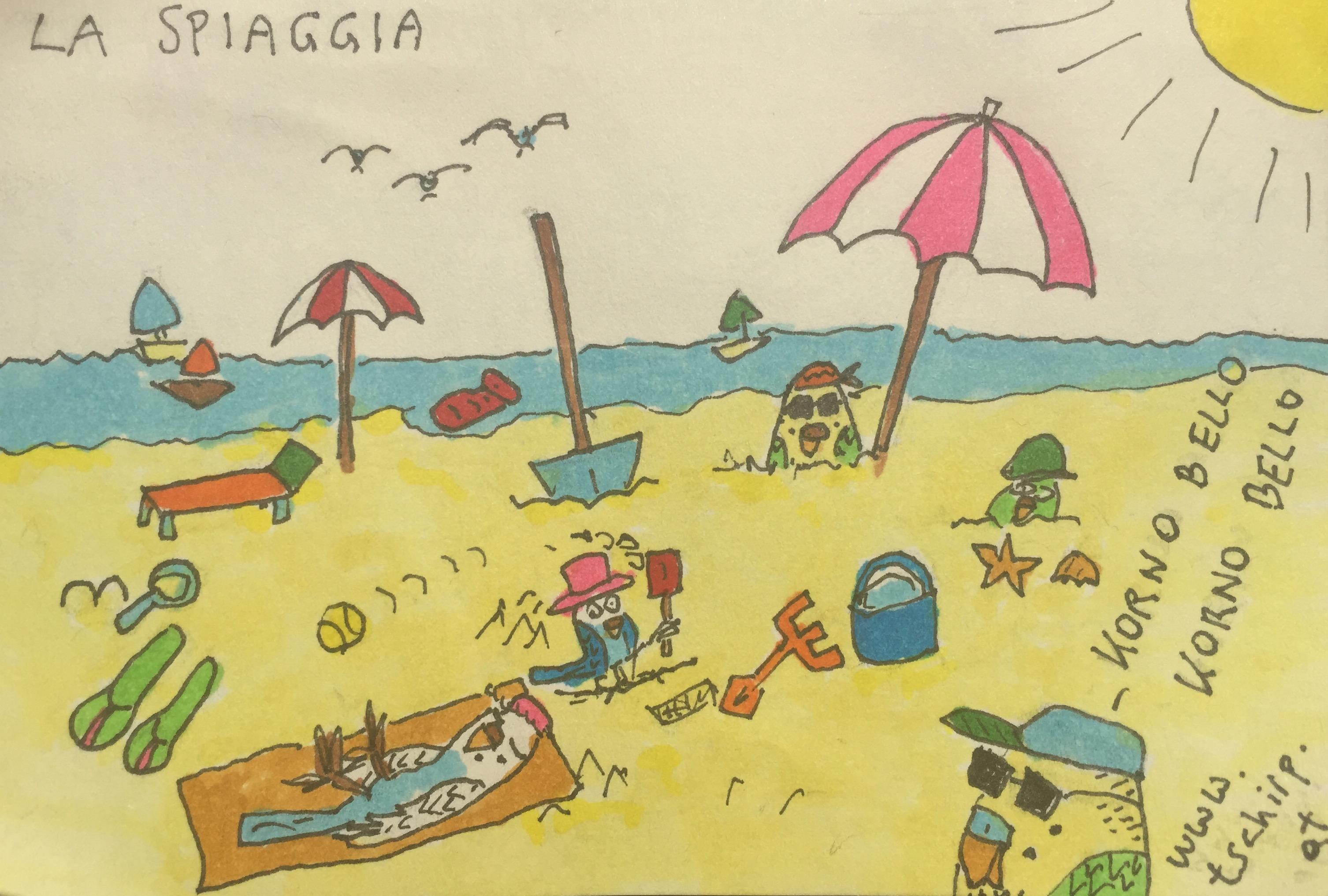 Urlaub, Strand, Italien, Wellensittich