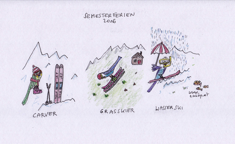 Wellensittiche, Skifahren, Semesterferien